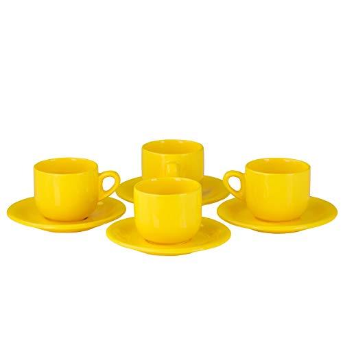 Van Well 4er-Set Kaffeetassen-Set Sun, 250 ml, sonnengelbe Porzellan-Tassen + Untertassen, gelbes Geschirr, runde Frühstückstassen, Gastronomie