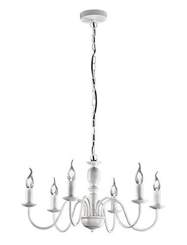 Perenz Flamand Suspension lustre 6 lumières blanc mat diamètre 60 cm 6 x E14 style provençal classique rustique