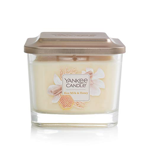 Yankee Candle Elevation Collection with Platform Lid Rice Milk & Honey Scented Candle, Medium 3-Wick, 38 Hour Burn Time