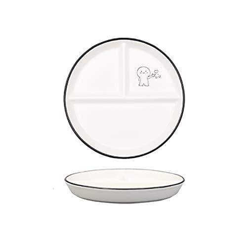 JSJJAEY Plato de Cena Set de Placa de Cena de cerámica Niños Snacks Postre Trean Tea Tea Vajilla Decoraciones de Escritorio Artículos para el hogar Placa Set (Color : White)