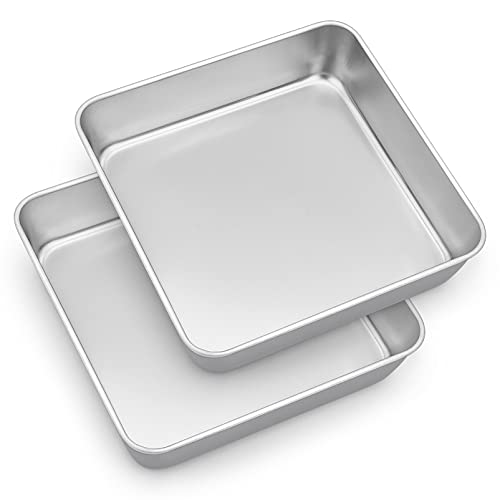TeamFar 9'' Square Cake Pan Set of 2, Stainless Steel Square Baking Pan for Lasagna Cake Brownie, Healthy & Heavy Duty, Dishwasher Safe & Easy Clean, Deep Wall & Smooth Edge