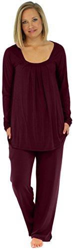 PajamaMania Women's Sleepwear Lightweight Long Sleeve Pajama Pj Set