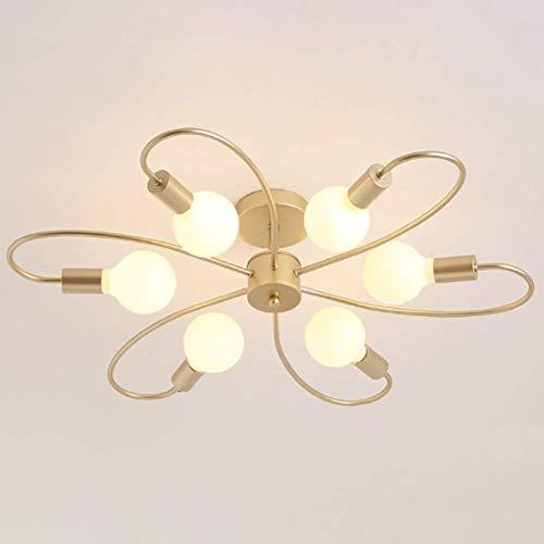 Plafondlamp Modern Mid-Century Flush Plafondlamp passend Postmoderne Plafondlamp voor Woonkamer Slaapkamer Eetkamer, Goud