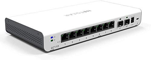 "NETGEAR GC110 10-Port Gigabit Ethernet LAN Switch (Insight Managed Smart Cloud, mit 2x 1GSFP, Desktop oder Wandmontage, inkl. 1 Jahreslizenz \""Insight Premium\"")"