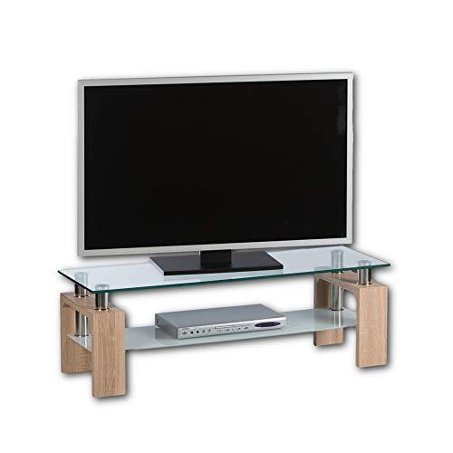 Stella Trading MANGO II TV-Lowboard Glas in Eiche Sonoma Optik - TV-Board ohne Rückwand für Ihr Wohnzimmer - 120 x 42 x 40 cm (B/H/T)