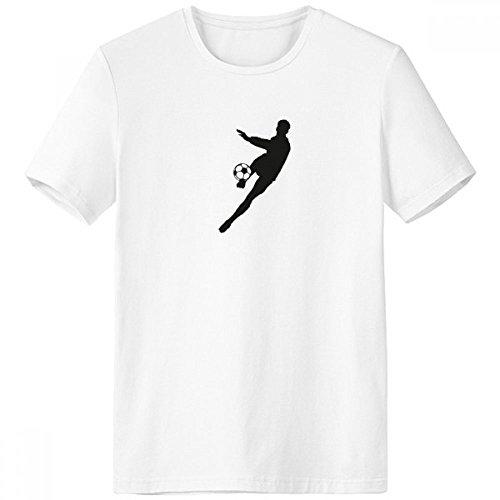 DIYthinker Deportes Fútbol Fútbol Silueta Escote de la Camiseta Blanca de Primavera y Verano de Tagless Comfort Deportes Camisetas de Regalos - Multi - Grande
