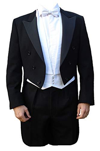 Clermont Direct Queue-de-pie et cravate à nouer blanche en laine, fabriqué au Royaume-Uni - Noir - Taille unique