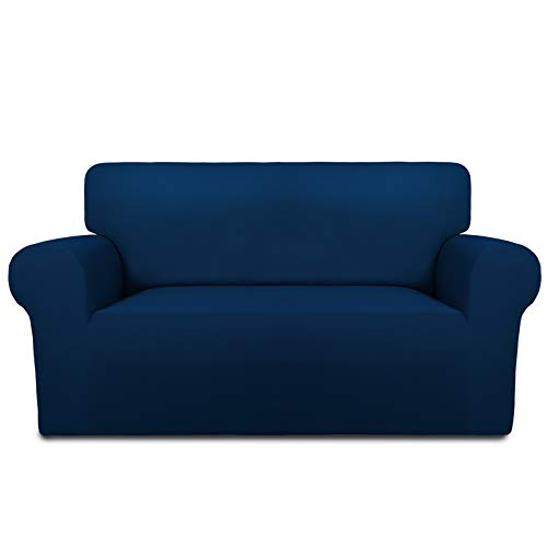 PureFit Super Stretch Chair Sofa Slipcover – Spandex Non Slip Soft Couch Sofa Cover, Washable Furniture Protector with Non Skid Foam and Elastic Bottom for Kids, Pets (Loveseat, Navy)