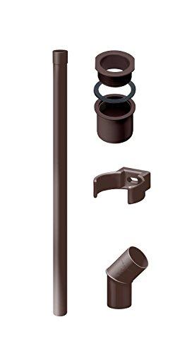 INEFA Fallrohr/Regenrohr Set DN 50 Dunkelbraun 2m - Kunststoff, Komplettset für Gartenhaus, Zubehör Fallrohrklappe