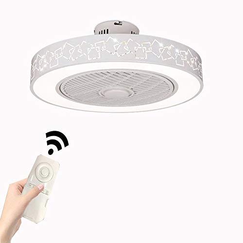 Creativo Ventilador Invisible LED Lámpara, Araña De Restaurante Minimalista Moderna Control Remoto Regulable Ultra Silencioso Lata Tiempo Ventilador De Techo Con Iluminación,Rubik