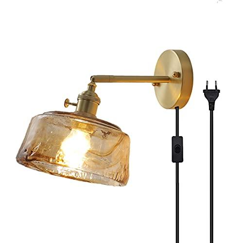 QEGY E27 Oro Lámpara de Pared Interior Vintage con Interruptor y Enchufe Aplique de Pared Latón Retro con Cable 1,8 m Luz de Pared Pasillos Vidrio ámbar Lámpara de Noche Comedor Iluminación,B