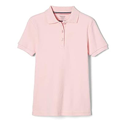 French Toast Little Girls' Toddler Short Sleeve Interlock Polo with Picot Collar, Pink, 4T