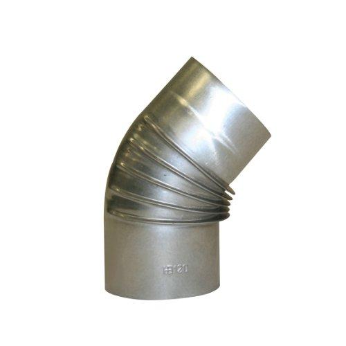 Kamino Flam Bogenknie silber, Winkel von 45°, Abgasrohr aus feueraluminiertem Stahl, rostfreier Rohrbogen, geprüft nach Norm EN 1856-2, Durchmesser: ca. 120 mm