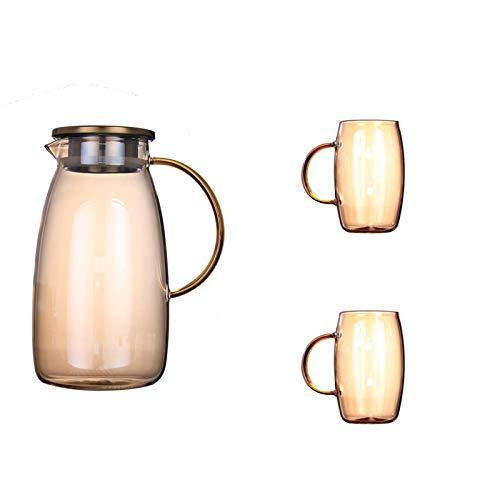 QAX Jarra para Agua Grande con Tapa,Garrafa,para Leche Zumo té Helado Limonada y Bebidas Chispeantes,Marrón,Kettle+2 Cups