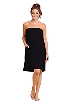 Women Waffle Spa/Bath Wrap with Pocket - Soft Lightweight Comfortable Adjustable Closure Dry Fast  XX-Large Black