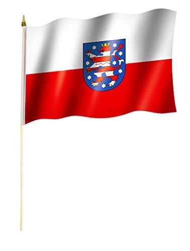 Stockflagge/Stockfahne THÜRINGEN Flagge/Fahne ca. 30 x 45 cm mit ca. 60cm Stab/Stock