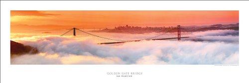 Cartaz de impressao de arte panoramica vencedor do premio no 2 - Ponte Golden Gate At Dawn de Sao Francisco (fotografia panoramica)