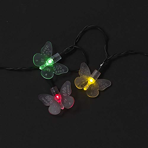wilko 50 Pack Butterfly LED Garden Solar Lights, Outdoor Solar String Lights, Multicolour LED Lights with Rechargeable Battery