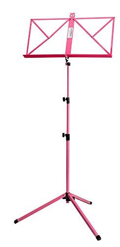 Classic Cantabile Notenständer Pink - Klappbares Notenpult für Kinder und Erwachsene - Mit Notenhalter an der Auflage - Höhenverstellbar von 65-130 cm - Gummifüße