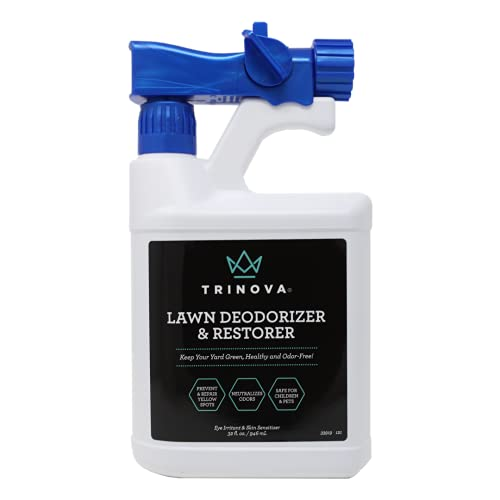TriNova Outdoor Lawn Deodorizer & Restorer - Eliminates Dog, Puppy Feces and Urine Odors from Lawn, Yard, & Patio, Artificial Turf - Restores Grass, Prevents Yellow Spots, & Promotes a Healthy Lawn