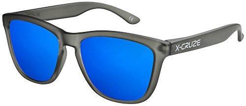 X-CRUZE 9-027 Gafas de sol Nerd polarizadas estilo Retro Vintage Unisex Caballero Dama Hombre Mujer Gafas - negro-transparente mate LW/azul tipo espejo