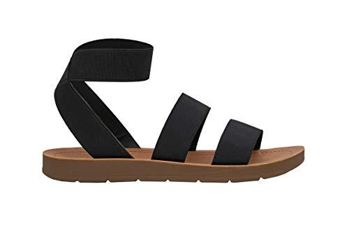 Women's Cushionaire Indego Stretch Sandal, Black 7.5