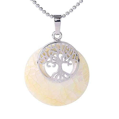 Collares Mujer Bisuteria,Tree Of Life Necklace,Donuts Ladies Necklace,White Abalone Shell Fragments Stitching,With Silver Round Bead Chain Aura Retro For Wife Daughter, Girlfriend'S Holiday Annivers
