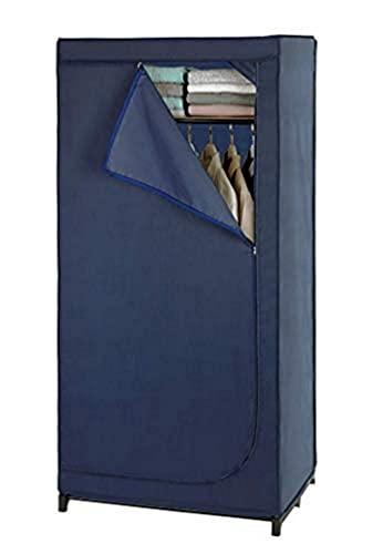 WENKO Kleiderschrank Business mit Ablage - mobile Garderobe, Faltschrank, Polyester, 75 x 160 x 50 cm, Dunkelblau