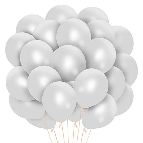 Covsen 100 PCS Helium White Latex Balloons, 10 Inch White Balloons, for Birthday Baby Shower Wedding Graduation Parties Supplies or Arch Decorations