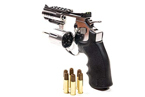 Black Ops Exterminator 2.5 Inch Revolver - Chrome Finish - Full Metal CO2 BB/Pellet Gun - Shoot .177 BBs or Pellets