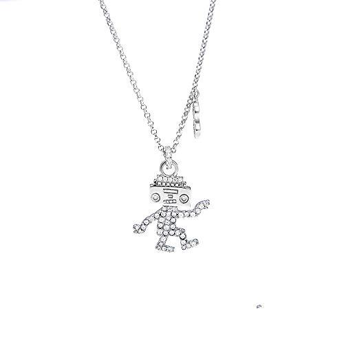 ZXYXYJS Mode Anhänger Schlüsselbein Halskette Damen hundert-Hit tanzen Roboter Mode Silber Ornamente