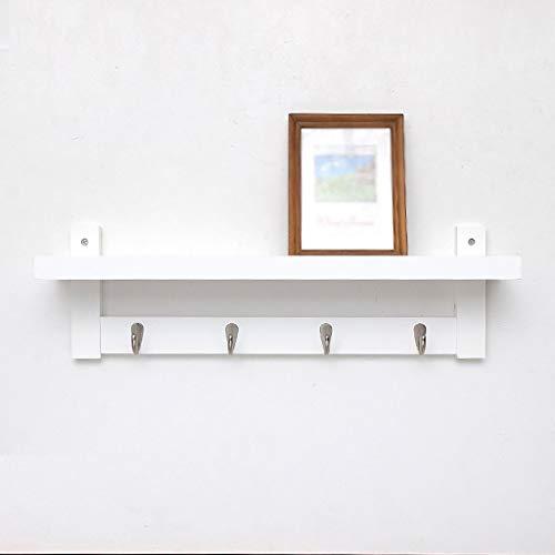 POETRY Muur gemonteerde kast massief hout Hangers witte plank haken Top Bamboe 61 74 87 & keer; 18 & keer; 12 cm (grootte: vijf haken)