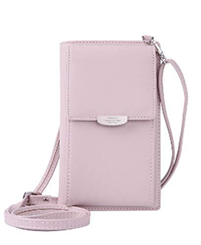 DNFC Damen Umhängetasche Kleine Handtasche Geldbörse Handy Tasche Portemonnaie Lang Geldbeutel PU Leder Geldtasche für Mädchen und Frauen (Pink)