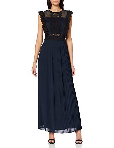Amelia Rose Damen Maxi Dress with lace Inserts and Flutter Sleeves Brautjungfernkleid, Navy, 34