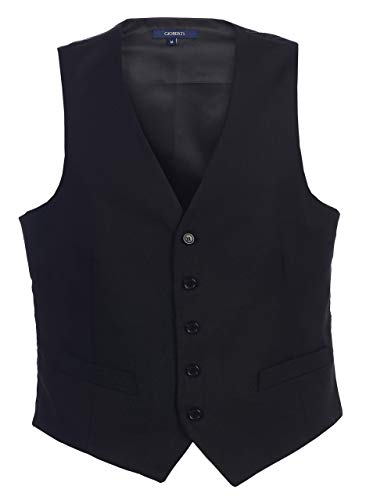 Gioberti Mens Formal Suit Vest, Black, Medium