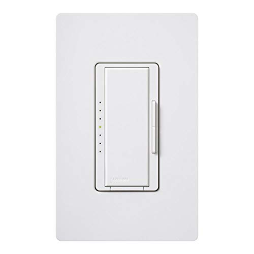 Lutron Maestro LED+ Dimmer Switch with Wallplate | for Dimmable LED, Halogen & Incandescent Bulbs, Single-Pole or Multi-Location | MACL-153M-WH | White