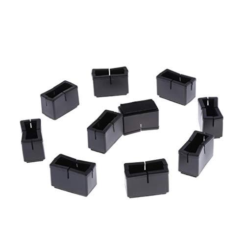 Baoblaze 10x Cubierta de Pies de Silla de Silicona Negra Protector de Piso Tapa de Pata de Rectangular