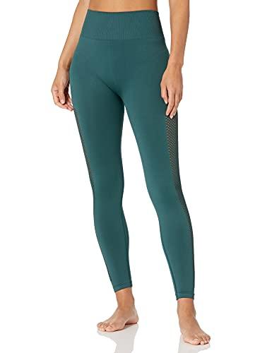 Amazon Brand - Core 10 Women's Seamless High Waist Squat-Proof Mesh Legging, Pine, XL (16)
