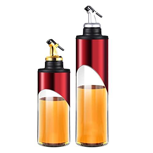 INSTO Aceitera de cristal con boquillas, aceite y vinagre para cocinar vino y salsa de soja, dispensador de aceite de cocina, acero inoxidable, color rojo