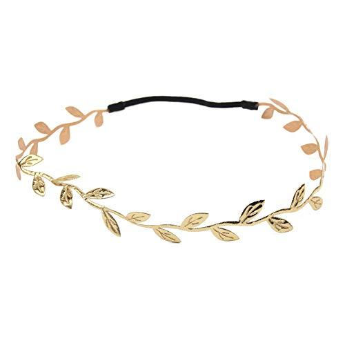 Fliyeong Böhmische Kopfkette Haarschmuck Haarband Goldkopfschmuck Blattkette Stirnband für Frauen Kind Praktisch