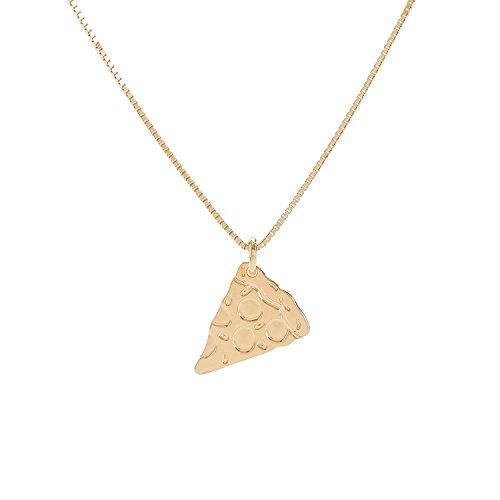 Malaika Raiss Halskette Damen Gold Stück Pizza Anhänger Messing 24 Karat vergoldet - N3165