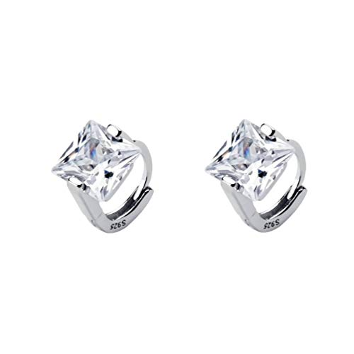 Princess Cut CZ Tiny Small Hoop Cartilage Earrings for Women Teen Girls S925 Sterling Silver Square Solitaire Crystal Diamond Hypoallergenic Dainty Sleeper Hoops Jewelry Gifts