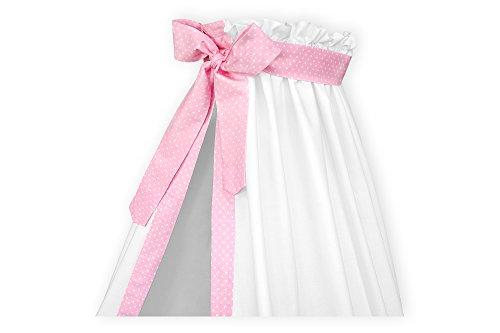KraftKids KraftKids Betthimmel in weiße Punkte auf Rosa, Bettvorhang 200 cm breit x 150 cm hoch, Baldachin mit Liebe handgefertigt in der EU