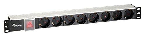 Equip aluminium stekkerdoos 48, 3 cm (19 inch) 1HE (8-voudig, Schuko met schakelaar, 1, 8m)