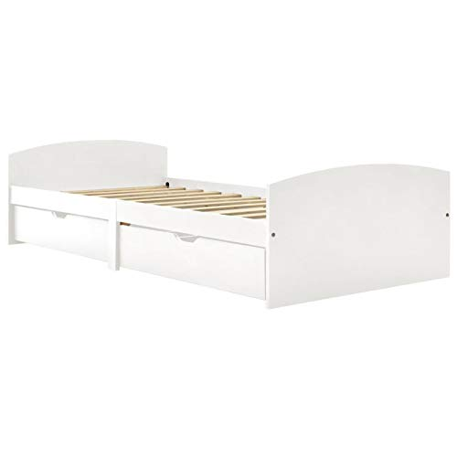 Tidyard Estructura de Cama con 2 cajones Cama Doble, Modelo Kendra Madera Pino Blanco 90x200 cm (colchón no Incluido) 3#