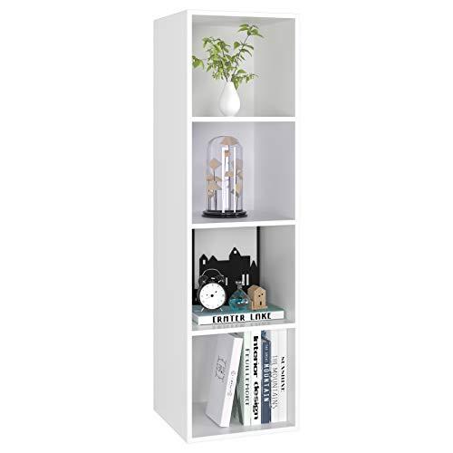 Bücherregal Bücherschrank 4 Nischen Standregal Aktenregal aus Holz für Wohnzimmer Büro Schlafzimmer 30 x 30 x 106 cm weiß