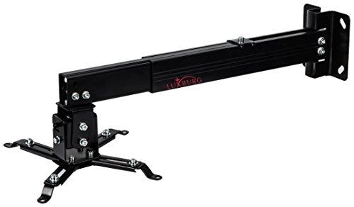 Luxburg Supporto a Muro/soffitto Universale in Alluminio per Montaggio proiettore 43-65cm Tiene 15kg 30 Gradi - Nero