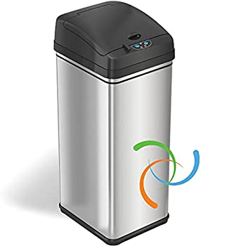iTouchless 13 Gallon Stainless Steel Kitchen Trash Can with AbsorbX Odor Filter System Powered by Batteries  not Included  or Optional AC Adapter  Sold Separately