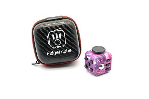 ROHSCE Fidget Cube - Anti Stress Würfel Stress Relief Toy Premium Quality Fidget Cube with Exclusive Protective Case, mit 6 Seiten und Funktionen gegen Stress (Black) (Black & Red) (Galaxy)