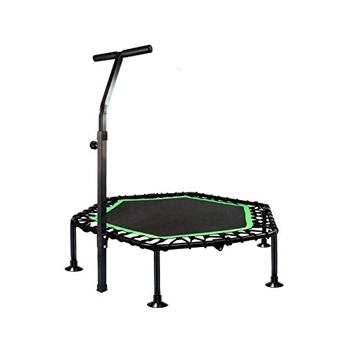 KFXL Fitness Trampolines Trampoline - 48-inch Gym Full Folding Trampoline For Adult Safety Compact Trampoline For Spring-free Trampoline With Lifting Armrests And Suction Cup Foot Tube Green Indoor tr